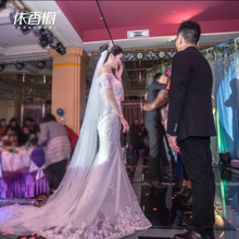 Свадьба платья 2017 новый зима корейский принцесса слово плечо рыбий хвост небольшой продольный мазок тонкий невеста выйти замуж мечтать