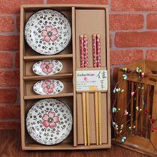 Выйти замуж возвращение церемония подарок творческий керамика посуда пакет деятельность подарок китайский стиль чаша палочки для еды блюдо сын палочки для еды подарочный набор