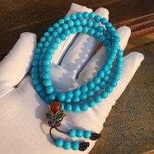 Природный 6mm бирюза бисер 108 звезды бисер исследование браслет женщина больше круг высокий фарфор синий браслеты автомобиль шея украшения