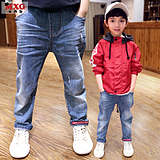 Meters West fruit 2018 the new children's spring clothing boy trousers spring and autumn jeans Han Edition tide mounted a large children's clothing trousers