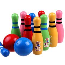 Большой размер ребенок дерево качество деревянный цвет боулинг ребенок головоломка движение игрушка установите комнатный иностранных 1-3 лет