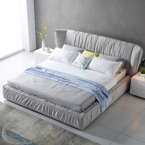 solid wood fabric bed can be washable 18 meters double bed storage cloth bed simple modern