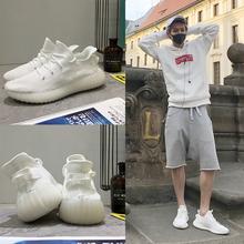 Пробег мужчина лу хань в этом же моделье медленно бег обувной корейский любители порт ветер весь белый спортивной обуви волна лето толстая корка новичок обувной