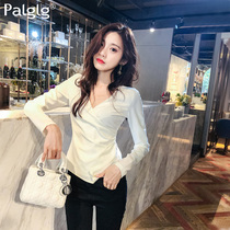 Palglg 2018 spring New Women's slim sexy v-neck long-sleeved bottoming shirt blouse temperament shirt 709