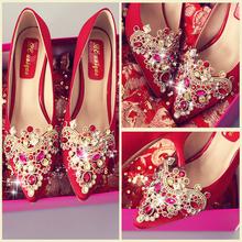 Свадебная обувь женщина зима 2017 новинка красный на высоких кабгалстук-бабочкаах точно с выйти замуж церемония корейский красивый зерна обувной уважение ликер невеста обувь