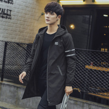 Ветровка мужчина закрытый 2017 новый красивый длина плащ мужчина плащ печать осень пальто мужчина корейская волна струиться
