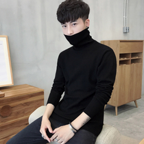 Men's slim fit bottoming shirt high collar sweater solid color knitwear long-sleeved Korean version of the winter plus velvet thickened sweater Mens