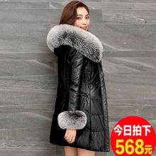 2017 новый зимний осенний хайнинг овец кожи дерма одежда куртка девочки длинная модель большой двор корейская мода версия с крышка