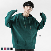 (Specials)BJHG Europe and the United States holes OVERSIZE loose hoodie sweater style street knit sweater jacket