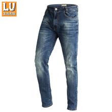 Подлинный LU жизнь неограниченный на открытом воздухе движение мужской прямо джинсы осень кофортный тянущийся тонкий брюки