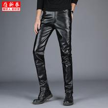 Кожаный брюки плюс утолщённый осень и зима ветролом локомотив версия небольшая брюки плотно тонкий молодежь эластичность теплый брюки волна