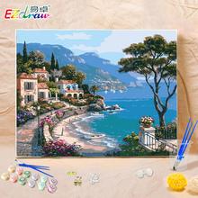 Легко выдающийся diy живопись цифровой живопись гостиная пейзаж континентальный для взрослых детей руки окрашенный заполнить цвет украшения ручной работы масло цвет живопись