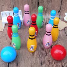 Большой размер ребенок дерево качество деревянный цвет боулинг ребенок головоломка движение игрушка установите комнатный иностранных 1-7 лет