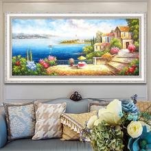 Ручной работы континентальный средиземноморье пейзаж живопись гостиная декоративный живопись диван фон стена картины спальня магазин фреска