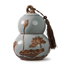 Сто послушный благословение жучжоуский фарфор чайница керамика печать бак магазин депозит бак разводья льда чай склад большой размер дракон весна цвет морской волны подарок чай бак