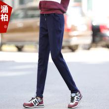 Осенью и зимой спортивные брюки женский длинный брюки харлан брюки хлопковое сырьё плюс бархат брюки ноги утолщенные внешний надеть свободный брюки