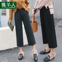 Wide leg pants female autumn and winter trousers 2017 new loose straight Harajuku Korean version of high waist peplum wool women pants