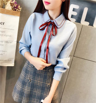 In 2017 the new Korean version of autumn   winter lace bowknot warm shirt plus cashmere thickened long sleeved shirt female students tide