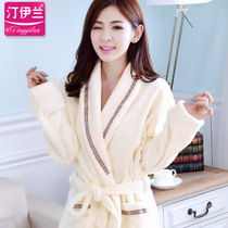Nightgown female autumn Bathrobe Bathrobe winter and thick flannel coral  velvet long-sleeved autumn and 8d11acc23