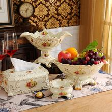 Континентальный фрукты установите роскошный творческий современный гостиная кофейный столик керамика украшение ткань фрукты блюдо три образца