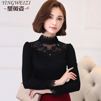 2018 Spring loaded The New Korean version of Joker in autumn and winter lace bottoming shirt women. clothes design sense long-sleeved T-Shirt