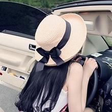 Новый мода бант загибание соломенная шляпа корейский лето песчаный пляж мисс затенение шляпа солнце крышка песчаный пляж крышка
