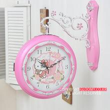 Бесплатная доставка ~ южная корея издание Hello Kitty настенные часы часы новый дом вешать стол кварц колокол дуплекс колокол циферблат 26cm