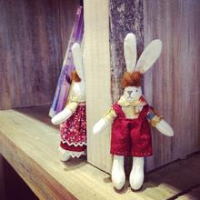 Исключительно вручную DIY ткань пэчворк участок страна кролик куклы красный кукла частный заказ