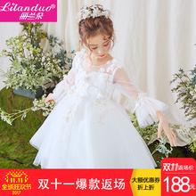 Корея орхидея белые цветы платья платье принцессы длинный рукав цветок ребенок свадьба ребенок юбки новинка зимний осеннний девочки производительность одежда