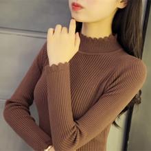Водолазка хеджирование свитер женский осенний зима дикий корейский утолщённый секретаря рукав свитер тонкий плотно краткое модель свитер