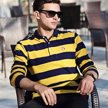 Осень и зима окрашенный полоса плюс толщина длина рукав t xl павел рубашка тянуть полка хлопок t футболки мужской отворот длинный рукав POLO рубашка