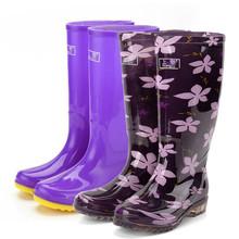 Сапоги женщина высокий для взрослых корея вода ботинок лето скольжение мода сухожилие удлинитель вода обувной пригодный для носки сапоги крышка обувной