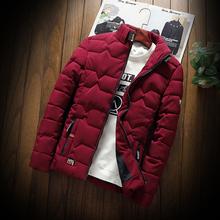 Зима мужской новый случайный утолщённый сохраняющий тепло хлопок пальто ватник тонкий одежда молодежь подбитый куртка мужской