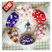 Бесплатная доставка роза мыло цветок пакет подарок сухие цветы букет танабата день святого валентина женщина друг подруга творческий день рождения подарок