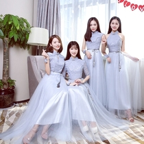 Bridesmaid gowns 2017 winter new retro Chinese sisters mission slim Bridesmaid Dress women Banquet long section sisters dress