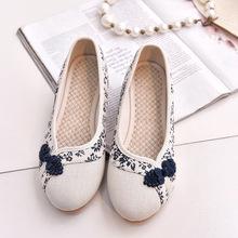 Древний наряд cheongsam обувной вышитый белые туфли конец синий и белый ткань обувная классическая обувь китайский одежда обувной квартира на низком кабгалстук-бабочкае метров белый обувь женская