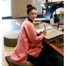 Будда смех край 2017 осень и зима классическая шерстяной китайский стиль чай женская одежда алтарь смысл пальто женщины свободный костюм панков куртка