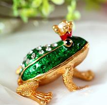 Принц лягушка украшение коробка золото шкатулка ювелирные изделия коробка эмаль подарок