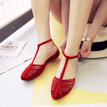 Корейский лето песчаный пляж сандалии женщина квартира рим чалма квартира с дикий пластик скольжение праздник приморский желе обувной