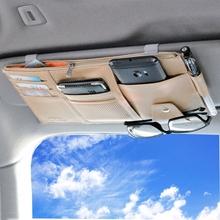 Автомобиль чистый черный мешок козырька карта клип многофункциональный водительские права законопроект упаковка карта крышка кожа автомобиль использование очки клип