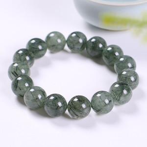 Natural Green Hair Crystal Prosperous Wealth Bracelet Green