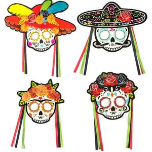 10sets Mexican Skull Mask Day Of The Dead Party Decorations