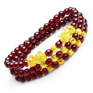 Natural wine red garnet draw wealth to protect peace PI xiu