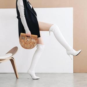 淘宝网过膝长筒靴_过膝靴白色细跟-淘宝拼多多热销过膝靴白色细跟货源拿货 ...