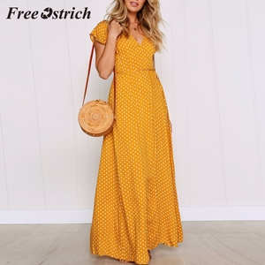 Free Ostrich 2019 Womens Dot Long Boho Dress Lady Beach