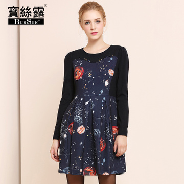Autumn and winter bead star printing stitching slim waist vintage style casual dresses