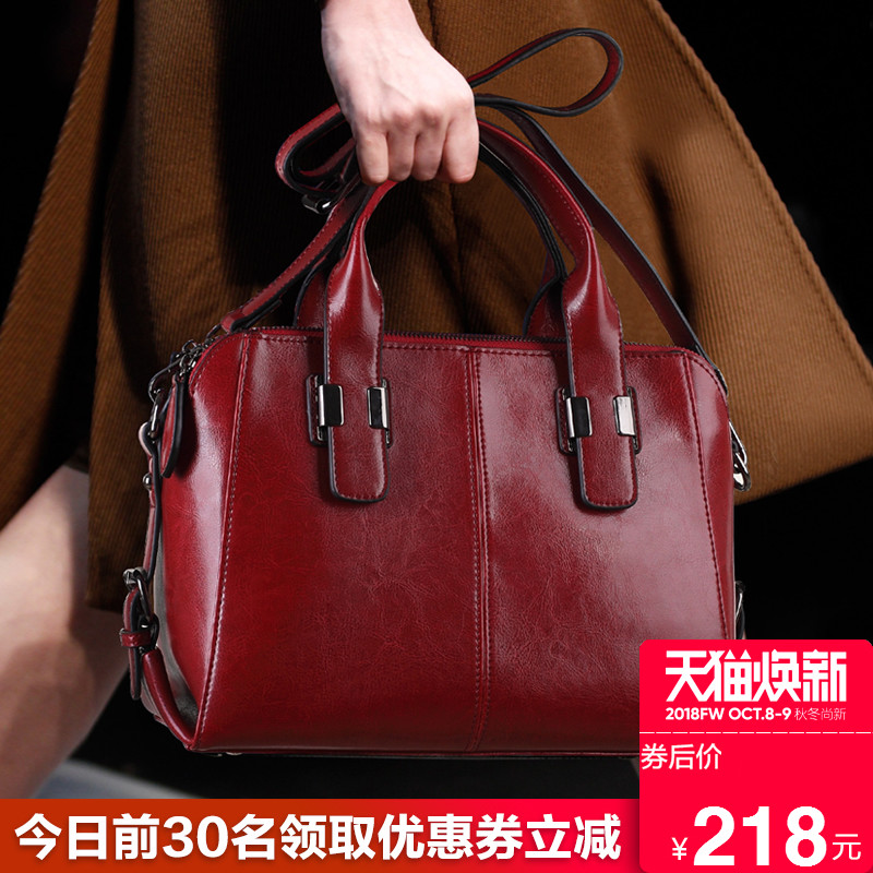 Big Bag Women's Bag 2019 New Kind of Real Leather Chaozhou Korean Edition Fashion Bovine Leather Retro Style One Shoulder Slant Handbag