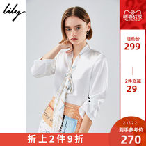 Lily2020 spring new womens temperament white V-neck printing streamers loose pullover chiffon 8981