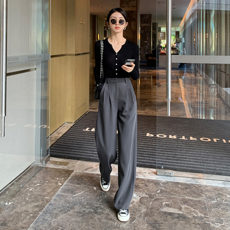 Broad-legged pants womens spring and summer new high-waisted straight barrel loose-fitting casual pants show thin suit pants drag pants tide