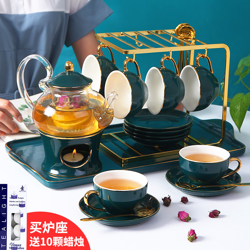 Nordic brewed fruit teapot set set English light luxury afternoon tea tea set candle heated flower teapot flower teacum